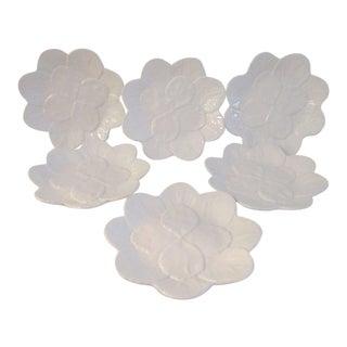 Vintage Bordallo Pinheiro Majolica White Plates - Set of Six For Sale