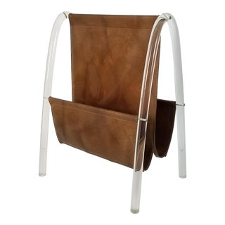 1980's Lucite and Brown Vinyl Decorative Magazine Rack For Sale