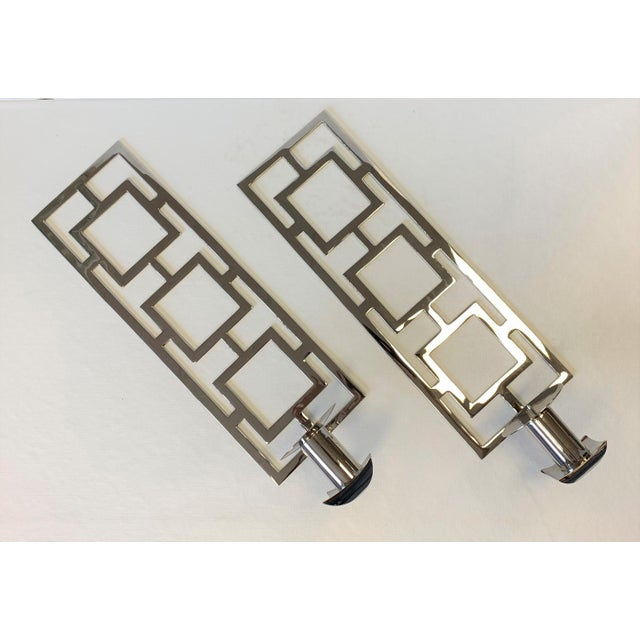 Silver Modern Chrome Wall Sconces - a Pair For Sale - Image 8 of 10