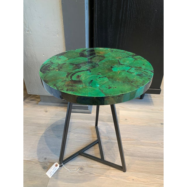 Metal Contemporary Capiz Side/Cocktail Table For Sale - Image 7 of 7