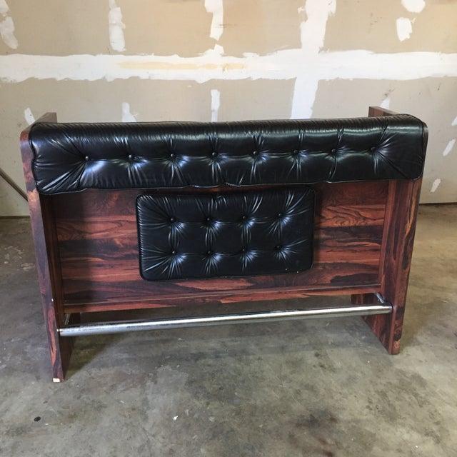 1970s Vintage Black Leather Tufted Dry Bar For Sale - Image 11 of 11