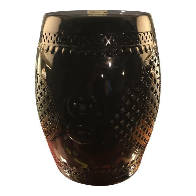 Black Asian Porcelain Stool - Image 1 of 8