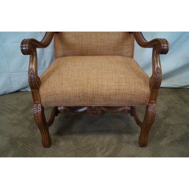 Quality Renaissance Style Carved Frame Arm Chair - Image 9 of 10