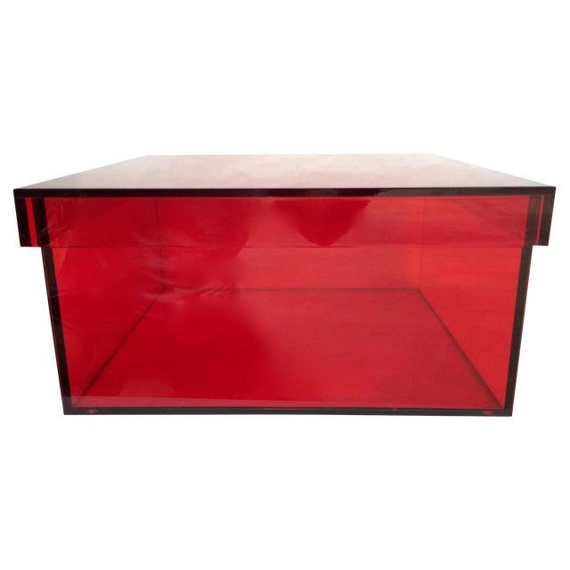 Vintage Red Acrylic Storage/Desktop Box - Image 1 of 7