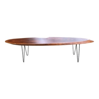 1960s Danish Modern Live Edge Coffee Table For Sale