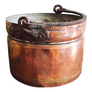 Antique French Copper Pot With Hand-Forged Iron Handle For Sale