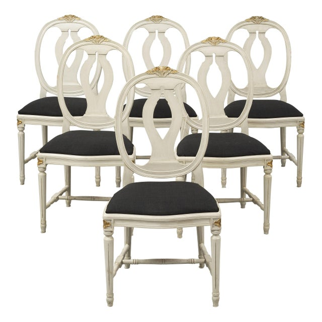 1950s 1970s Vintage Gustavian Rose Chairs - Set of 6 For Sale - Image 5 of 10