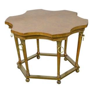 Mastercraft Burl Wood Brass Base Regency Style Side Table For Sale