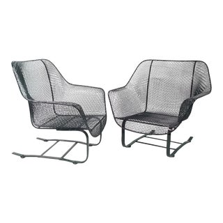 Pair of Russell Woodard Steel Mesh Spring Base Lounge Chairs For Sale