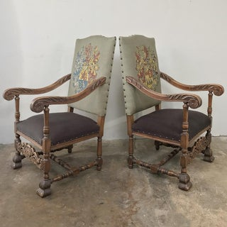 19th Century Louis XIII Armchairs With Embroidery - a Pair Preview