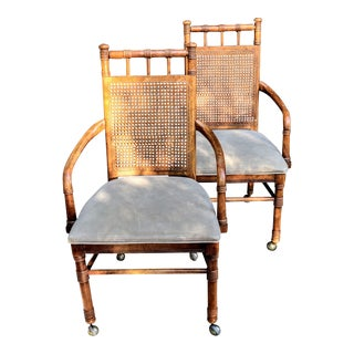 1970s Vintage Faux Bamboo Woven Cane Back Rolling Padded Seat Arm Chairs - a Pair For Sale