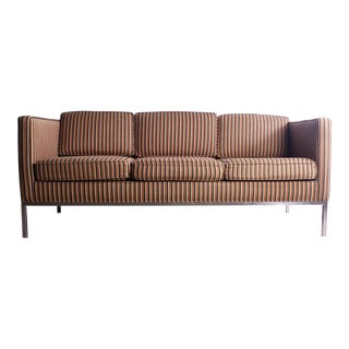 Rare Axel Roffman Original Upholstery With a Chrome Base Sofa For Sale