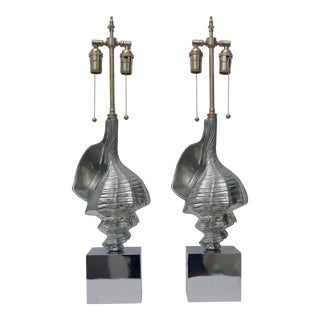 20th Century Hollywood Regency Aluminum Sea Shell-Form Table Lamps - a Pair