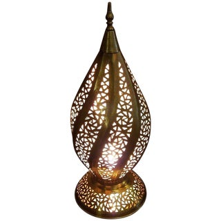 Moroccan Spiral Shape Copper Table Lamp For Sale