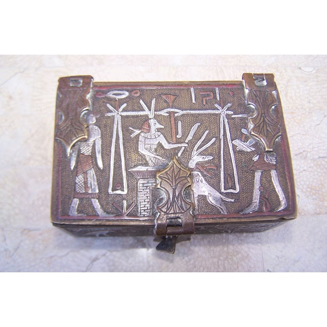 Vintage Mixed Metal Egyptian Motif Cigarette Box For Sale - Image 4 of 9