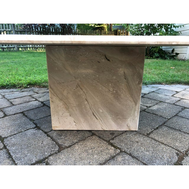 White Art Deco Italian Travertine Coffee Table For Sale - Image 8 of 13