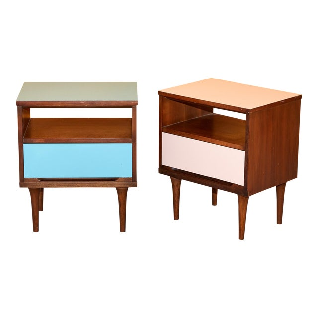 Pair of Pink and Blue Nightstands For Sale
