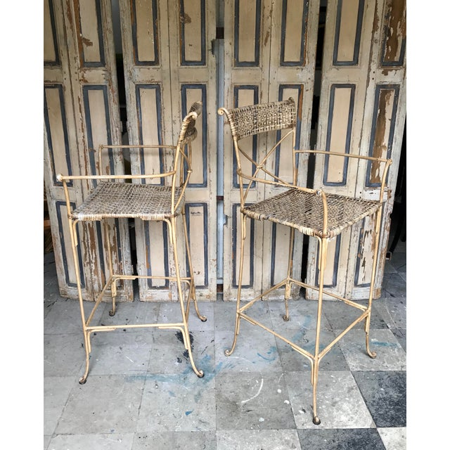 Neoclassical Styled Metal Bar Stools, Pair For Sale - Image 4 of 13