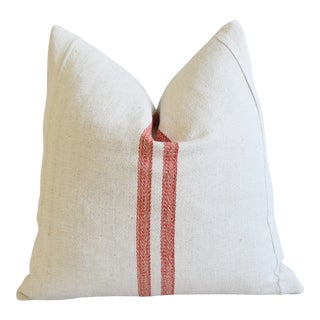 """French Country Red Striped Grain-Sack Feather/Down Pillow 22"""" Square For Sale"""