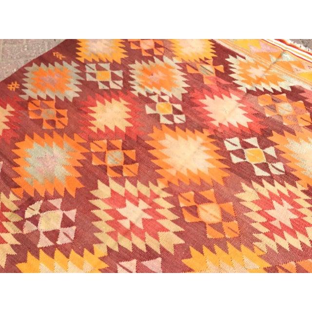 Burnt Orange Vintage Turkish Kilim Rug For Sale In Raleigh - Image 6 of 11