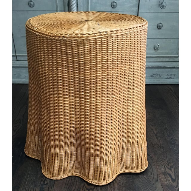 Fabulous and hard to find vintage Trompe L'oeil wicker / rattan drape table. This fantastic table is handwoven in a warm...