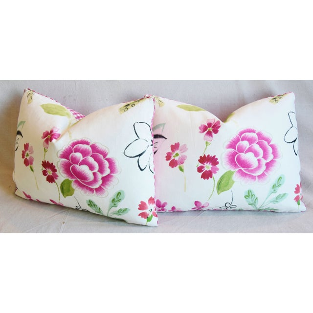 "French Manuel Canovas Floral Linen Feather/Down Pillows 22"" X 16"" - Pair For Sale - Image 9 of 13"