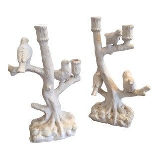 Oly Studio Faux Bois Bird & Branch Candle Holders - a Pair For Sale