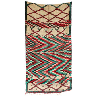 "Vintage Azilal Moroccan Berber Rug - 4'11"" x 8'10"" For Sale"