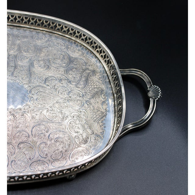 1940s Art Deco English Silver Plate Handled Tray With Gallery For Sale - Image 5 of 13