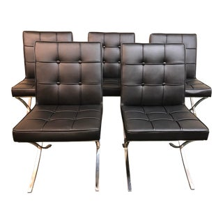 Modern Barcelona Style Armless Lounge Chairs - Set of 5 For Sale