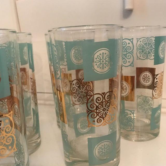 Hollywood Regency Vintage Mid-Century Aqua and Gold Cocktail Glasses - Set of 6 For Sale - Image 3 of 7