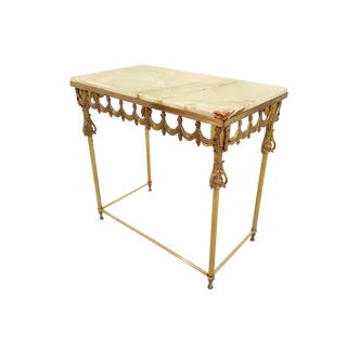 Vintage French Marble Top Brass Neoclassical Foyer Table Side Table For Sale