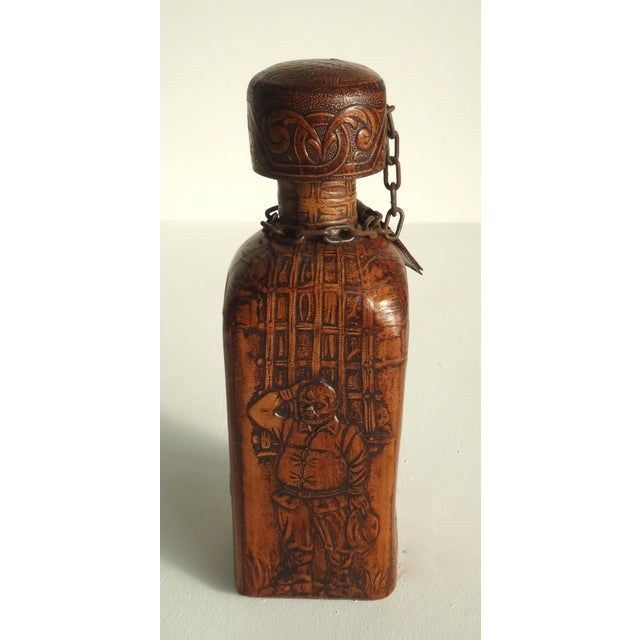 70s Leather Wrapped Spanish Conac Decanter For Sale - Image 4 of 5