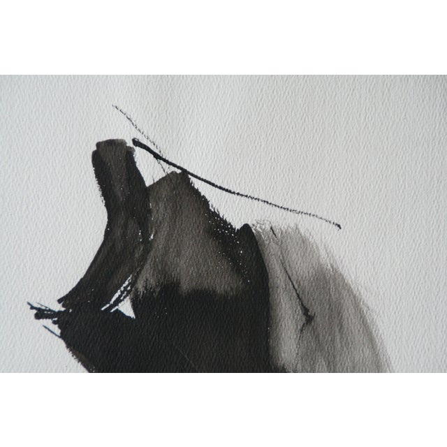 Vintage Abstract Black and White Watercolor Painting - Image 4 of 6