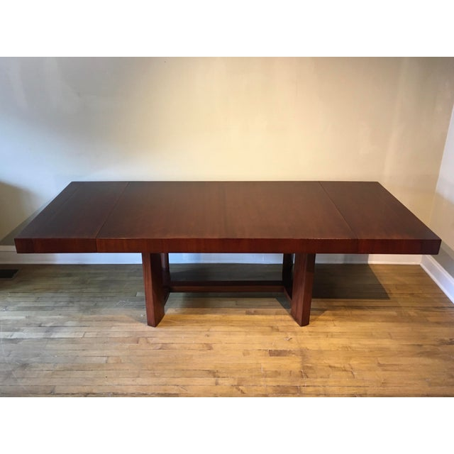 MCM newly restored Robsjohn Gibbings for Widdicomb mahogany dining table with two leaves/extensions. This beautiful table...