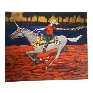 1980s Folk Art Style Figurative Unicorn Painting on Board by Ted Bredt For Sale