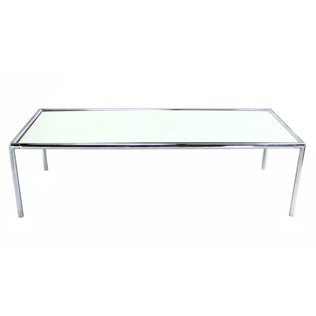 Early 20th Century Extra Long Chrome Tubular Design Dining or Conference Table with Mirrored Top For Sale - Image 5 of 5