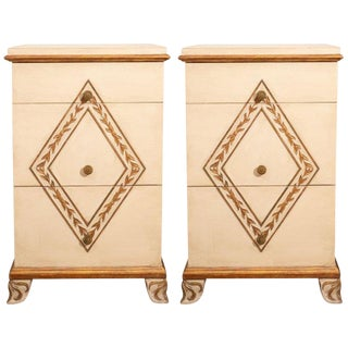 Pair of Directoire Style Painted Bedside Tables For Sale
