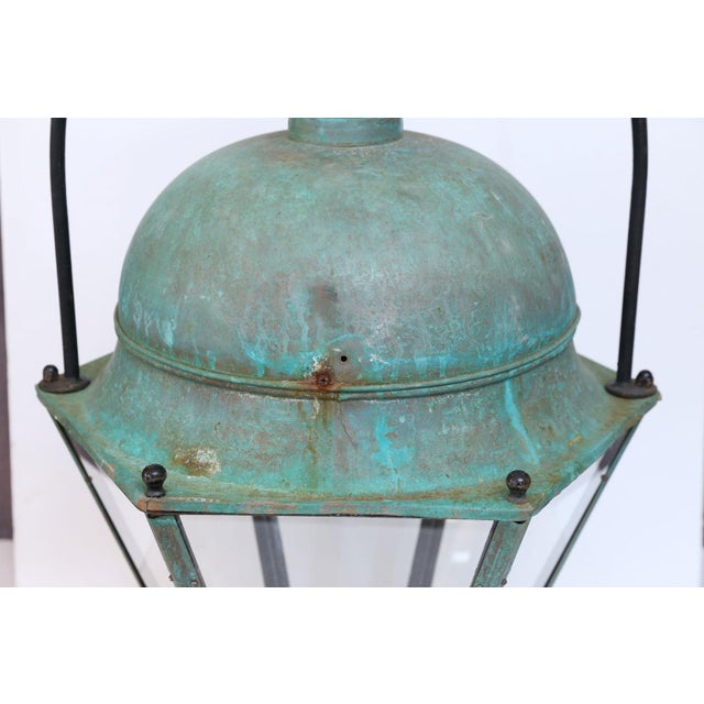 Large early 20th century octagonal copper top lantern from Avignon, France, with a stunning patina. Can be wired for...