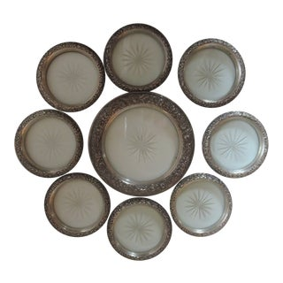 1920s Kirk Floral Repousse Sterling Silver & Cut Crystal Coasters - Set of 9 For Sale