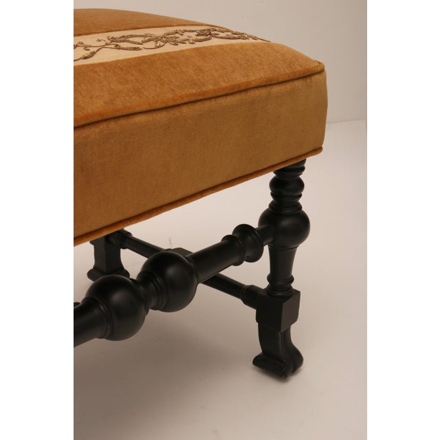 Pair of 19th Century Italian Stools, Rectangular with Gold Velvet and Embroidered Fabric - Image 4 of 8