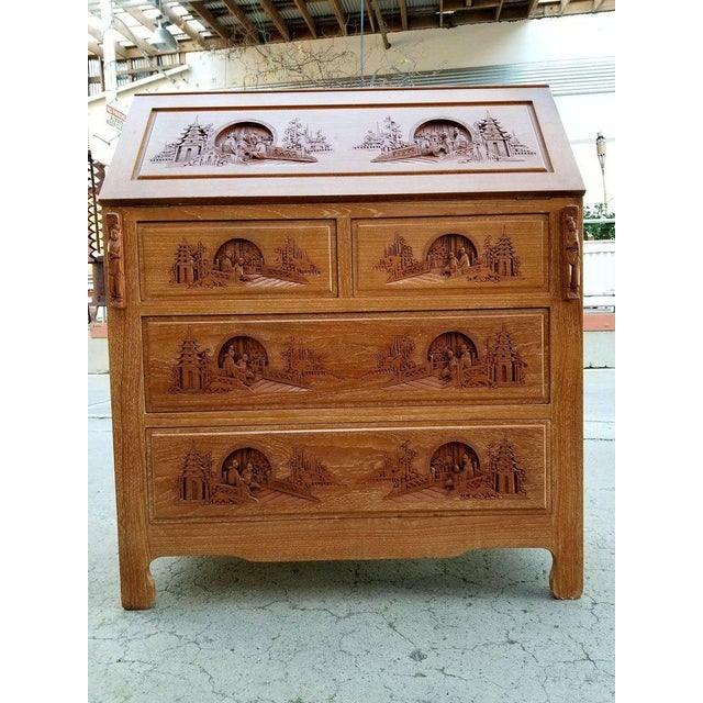 George Zee Hand Carved Asian Drop-Front Desk For Sale - Image 4 of 10