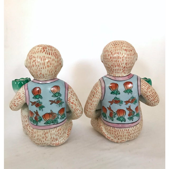Asian Vintage Chinese Ceramic Monkey Gardener Seated - a Pair For Sale - Image 3 of 11