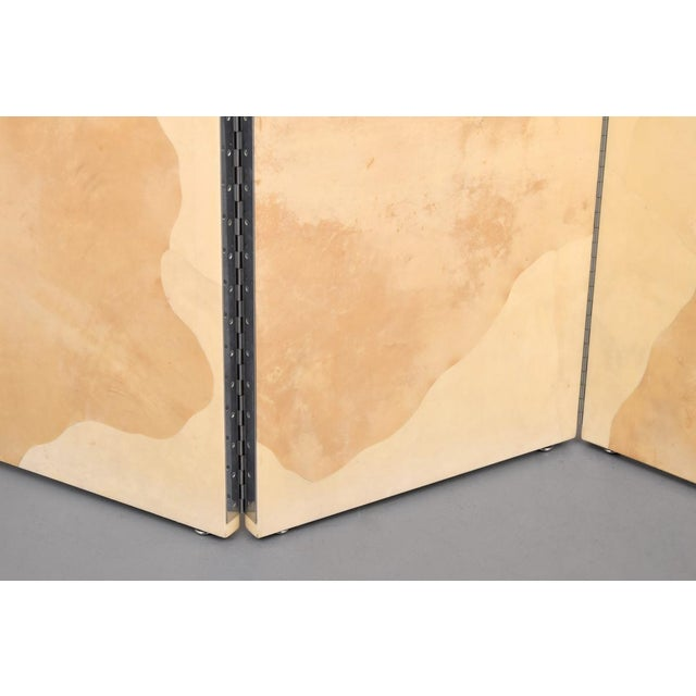 Vintage Large Parchment Screen Attributed to Karl Springer For Sale - Image 4 of 8