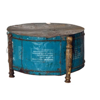 1960s Boho Chic Teal Metal Drum Coffee Table For Sale