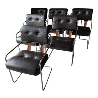 Chrome & Leather Pace Tucroma Armchairs - Set of 6