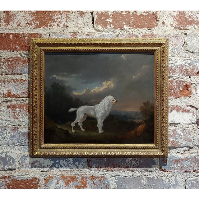 18th Century Portrait of White Poodle in a Landscape Oil Painting For Sale - Image 10 of 10
