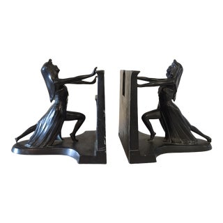 "Antique Art Deco Egyptian Revival ""Queen of the Nile"" Bookends by L Maronson - a Pair For Sale"