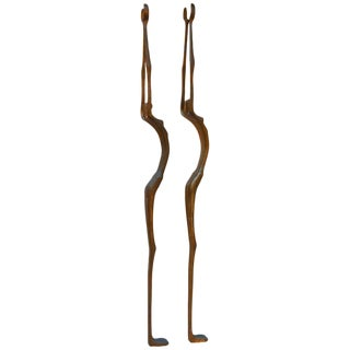 Modern Brutalist Style Bronze Female Asher Sculptures - a Pair