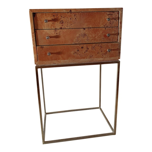 1950s Mid-Century Modern Milo Baughman Burlwood Side Table For Sale